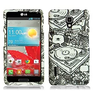 Hard Case DJ Pattern Faceplate for LG Optimus F7 Unique Fun Cool Trendy Retro Indi Vintage Design by ThePhoneCovers
