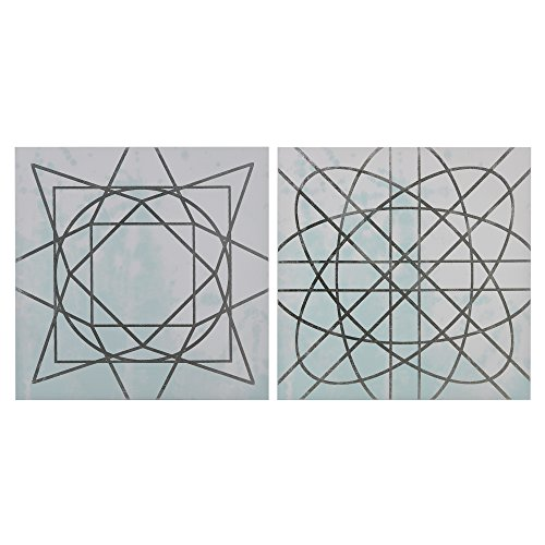 Metallic Canvas - Décor 5 - Printed Canvas Set with Silver Metallic Foil - 2 Pieces, 18'' x 18'' - Artic Geometric Pattern - Blue, White, Silver Foil