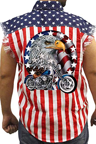 Men's USA Flag Sleeveless Denim Shirt Red White & Bold Eagle Biker: USA Flag (XXL)