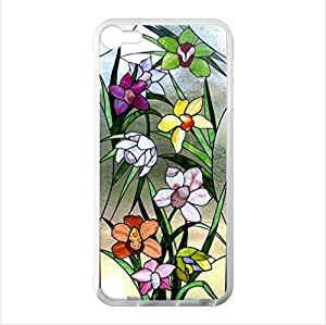 Beautiful Colorful Stained Glass Flowers Pattern Design,Stained Glass iPod Touch 5 (Laser Technology) Case, Cell iPod TouchCover