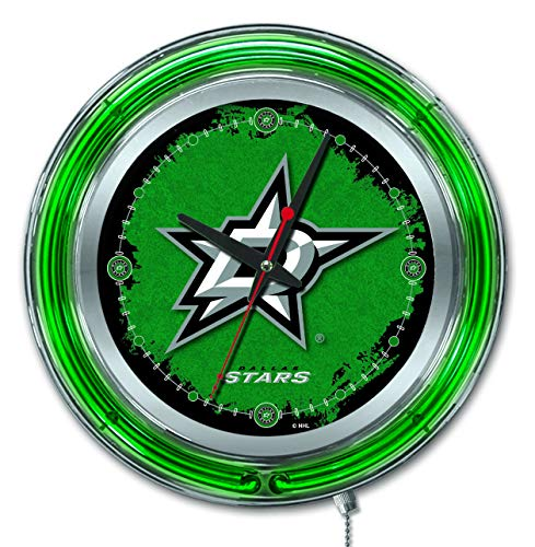 Holland Bar Stool Co. Dallas Stars HBS Neon Green Hockey Battery Powered Wall Clock (15