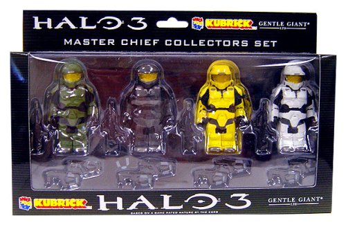 amazon com halo 3 kubricks master chief 4 figure lego boxed set