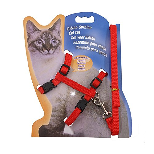 XPangle Cat Harness and Leash Adjustable Nylon Halter Harness Kitten Nylon Strap Belt Safety Rope Leads (Red)