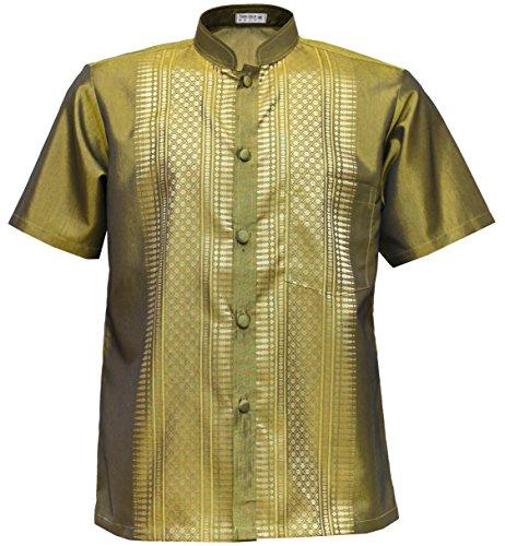Thai Silk Men's Short Sleeve Mandarin Band Collar Casual Shirt (Gold, XXL) (Silk Clothes Thai)