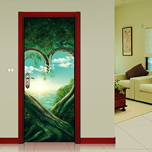 Amaonm Set of 2 38.5x200cm/15.1x78.7inch Removable 3D False Door Wallpaper Vinyl 3D Green Love Old Tree Art Decor Stickers Murals for Walls Home Room Bedroom Living Room Office Decoration (NM26)