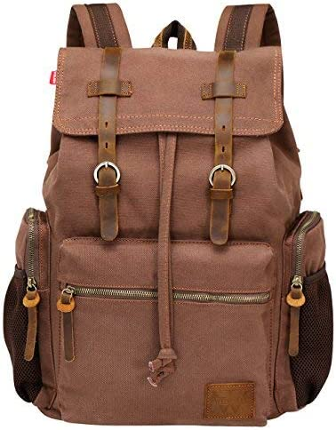 Wowbox Laptop Canvas Leather Backpack