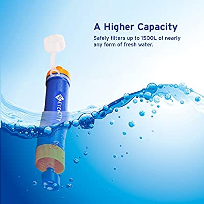 Etekcity Portable Water Filter Filtration Straw Purifier Survival Gear, 1500L Emergency Camping Equipment 3-stage Filtration, 0.01 Micron, Survival Kit Hurricane Storm Supplies