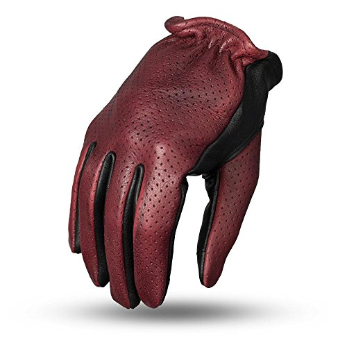 First Mfg Co Men's Perforated Roper Leather Motorcycle Touch Tech Finger Gloves (Oxblood/Black, 3XL) (Naked Motorcycle Gloves Leather)