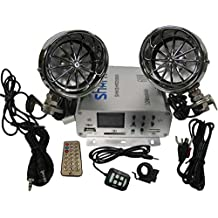 Shark Shkamp5800spkharley Chrome 600 Watt Motorcycle Snowmobile Audio System w/ Harley Dav. Speakers with handlebar clamps, usb, sd