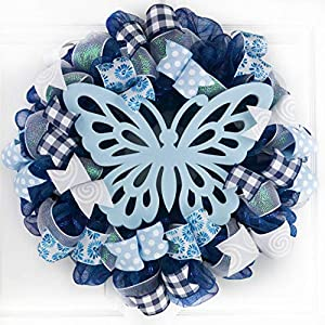 Everyday Butterfly Wreath | Summer Spring Wreath | Navy Blue Outdoor Wreath | Light Blue White 4