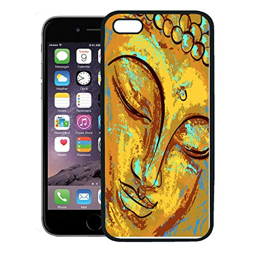 (Semtomn Phone Case for iPhone 8 Plus case,Abstract Spiritual Portrait of Buddha Imitation Oil Paint Pastel Chinese Thai iPhone 7 Plus case Cover,Black)