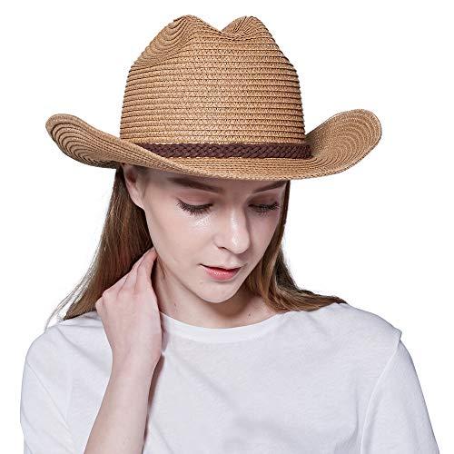 Straw Cowboy Hat,Men's & Women's Sun Beach Hats Western Style Outdoor UV Protection Cap (L(7 1/4-7 3/8), A4-Khaki)