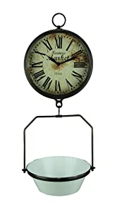 Farmers Market Clock with Hanging Fruit Basket - Vintage Scale Design
