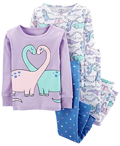 Carter's Baby Girls' 4 Pc Cotton (2T, Double Dino)