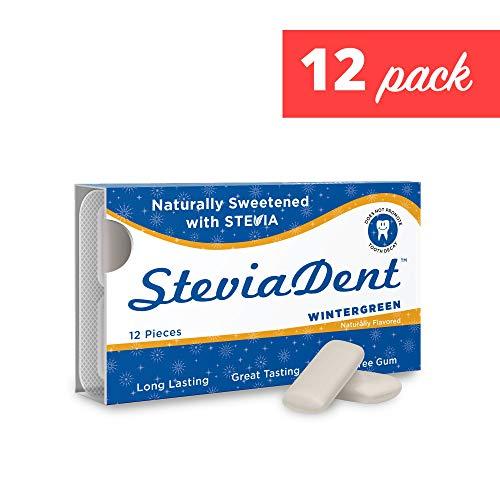 Stevita Stevia Dent Sugar-Free Gum - Natural Wintergreen Flavor (12 Pack) - 12 pieces - Supports Oral Health - USDA Organic, Non GMO, Vegan, Keto, Gluten Free - 144 Servings