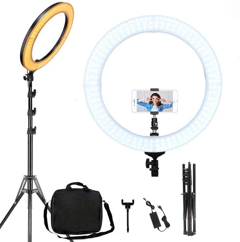 18In Dimmable Makeup and YouTube Video Ring Light Kit for Portrait and Live Streaming Compatible with Camera Smartphone H0138 QFXFL LED Ring Light with Stand