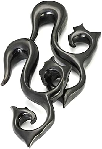 Pair 10 mm  00 Gauge Horn Handcrafted 10mm Horn Stretch your ear B003 00g Blooming Lotus Horn Stretching Earring Hangers