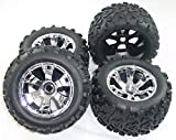 Traxxas Revo 3.3 FRONT & REAR MAXX TIRES & GEODE 17mm CHROME WHEELS Inserts