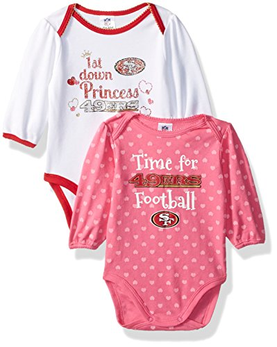 NFL San Francisco 49Ers Baby-Girls 2-Pack Long-Sleeve Bodysuits, Ers, 3-6 Months