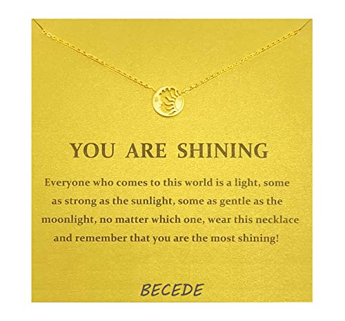 BECEDE Friendship Clover Necklace Unicorn Good Luck Elephant Butterfly Palm Aliens Lotus Cat-Ears Lucky Bird Pendant Necklace with Message Card Gift Card (Gold) (Sun and -