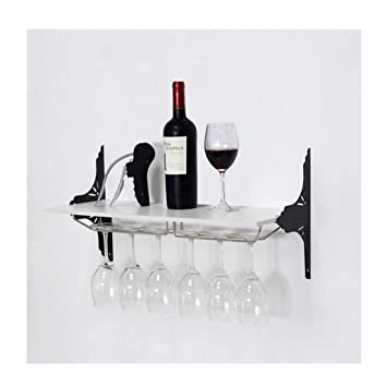 Amazoncom Wall Mount Metal Wine Bottle Glass Rack Shelf Holder