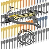 Easy Cocking Crossbow - KingsArchery Crossbow Self-Cocking 80 LBS Adjustable Sights, 3 Aluminium Arrow Bolts, Spare Crossbow String Caps Bonus 120-pack Colored PVC Arrow Bolts Warranty