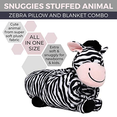"""SNUGGIES Zebra Stuffed Animal Blanket & Cuddly Pillow 2-in-1 Combo – Super Soft and Cuddly Baby Zebra Blanket 37"""" x 30"""" and Zoo Plush Toy 14"""" x 8"""" – Perfect Unisex Baby Shower Gift by Snuggies (Image #2)"""