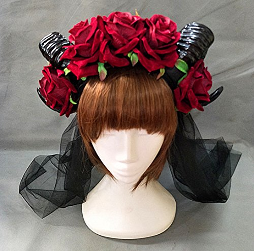 Qhome Restyle Sheep Horn Rose Flower Butterfly Headband Gothic Beauty Horror Horns Halloween Black Veil Lace Retro Hair Accessories -