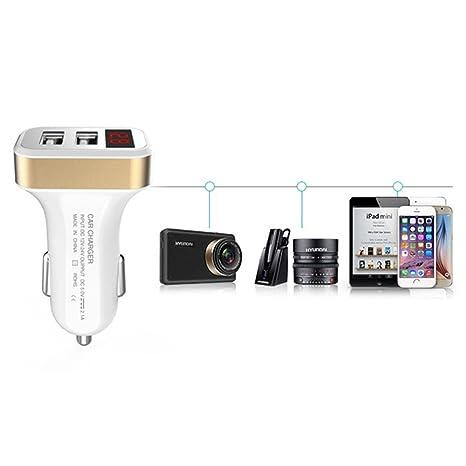 1/2 Cargador de coche con un pantalla Cargador de coche cargador rápido 2 USB