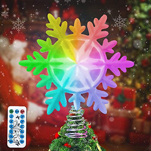 LSXD Snowflake Christmas Tree Topper with Multicolor LED Lights, Timer and Remote Control Glitter Tree Topper Star for Christmas Tree Decorations Wall Party Holiday Décor (White)
