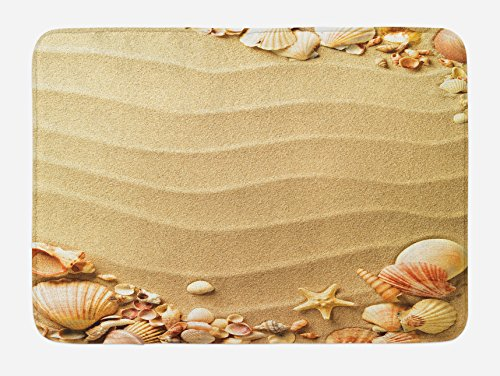 Frame Bath - Ambesonne Beach Bath Mat, Nautical Composition with Sandy Beach Frame Surrounded by Various Sea Shells, Plush Bathroom Decor Mat with Non Slip Backing, 29.5 W X 17.5 W Inches, Sand Brown Coral