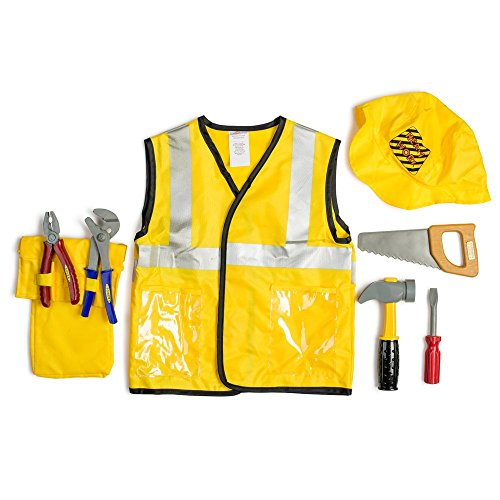 Dress Up America Kids Construction Worker Role Play Dress Up Set 3-7 Years