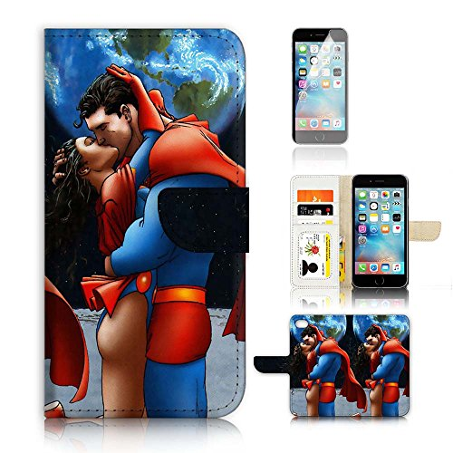 (For iPhone 8 Plus/iPhone 7 Plus) Flip Wallet Case Cover & Screen Protector Bundle! A20110 Superman Wonder Woman