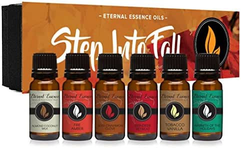 Step Into Fall Gift Set of 6 Premium Fragrance Oils - Almond Coconut Milk, Fire Amber, Sexy Cinnamon Clove, Reindeer Retreat, Warmth of The Holidays, Tobacco Vanilla - Eternal Essence Oils