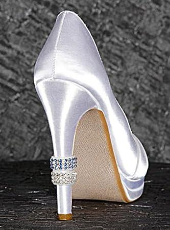 Amazoncom David Tutera Crystal Heel Rings Blue and Rhinestone