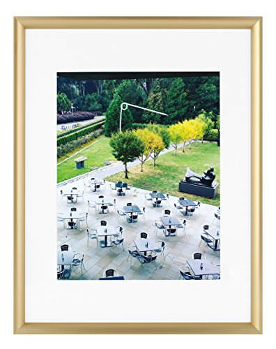 Frametory, 11x14 Gold Aluminum Frame - Ivory Mat for 8x10 Picture - Sawtooth Hangers for Wall Mounting - Swivel Tabs - Glass Front - Inner Fillet Edge Design (11x14)