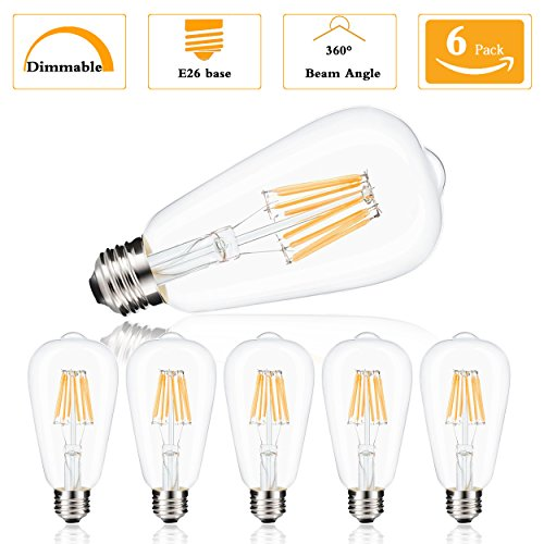Vintage Edison LED Bulb, Dimmable 8W (80Watt Incandescent Equivalent ST64/ST21 Antique LED Bulb Squirrel Cage Filament Light, E26 Medium Base 700LM 4000K Natural White Ideal For Decor, Home, Pack of 6
