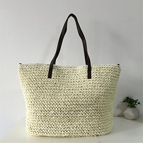 Grass Bucket Casual Rattan Feminine Durable Bag Straw Beach Handbags Knitting Tote Woven Linen Hobos beige Weave Bags Bag Summer Women nq4PwASA
