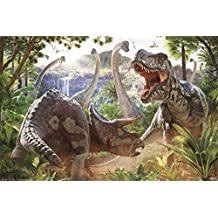Dinosaur Battle Art Print Poster 24x36