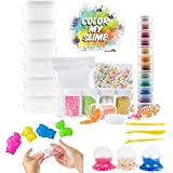 Fun Slime Kit for Kids, Girls, Boys. Big 39 Piece Set w/ Clear Slime, 12 Pigment Powders, Foam Beads, Googly Eyes, Tools, Charms, Fruit & Animal Slices. Safe Non-Toxic