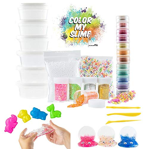 - Fun Slime Kit for Kids, Girls, Boys. Big 39 Piece Set w/ Clear Slime, 12 Pigment Powders, Foam Beads, Googly Eyes, Tools, Charms, Fruit & Animal Slices. Safe Non-Toxic