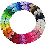 #9: QingHan 40Pcs 3'' Grosgrain Ribbon Pinwheel Boutique Hair Bows Clips For Baby Girls Teens Toddlers Kids Children