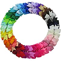 QingHan 40Pcs 3'' Grosgrain Ribbon Pinwheel Boutique Hair Bows Clips For Baby...