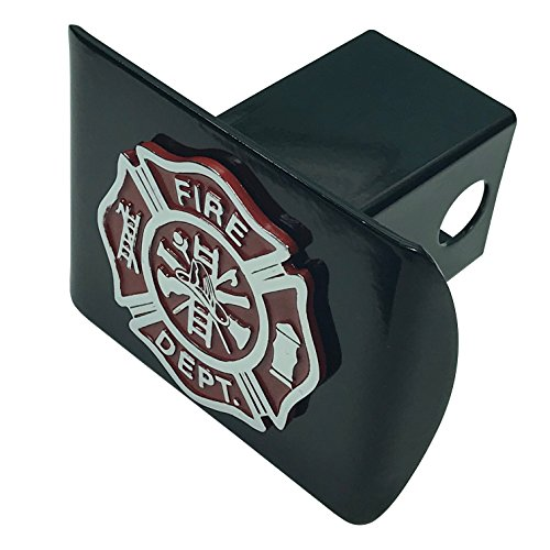 (Support Firefighters METAL emblem (chrome & red) on black METAL Hitch Cover Fire)