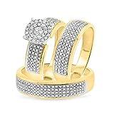 Smjewels 7/8 Ct Sim Diamond Men's/Women's 3 Piece Trio Engagement Ring Set 14K Yellow Gold Fn