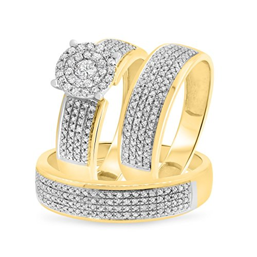 Smjewels 7/8 Ct Sim Diamond Men's/Women's 3 Piece Trio Engagement Ring Set 14K Yellow Gold Fn by Smjewels