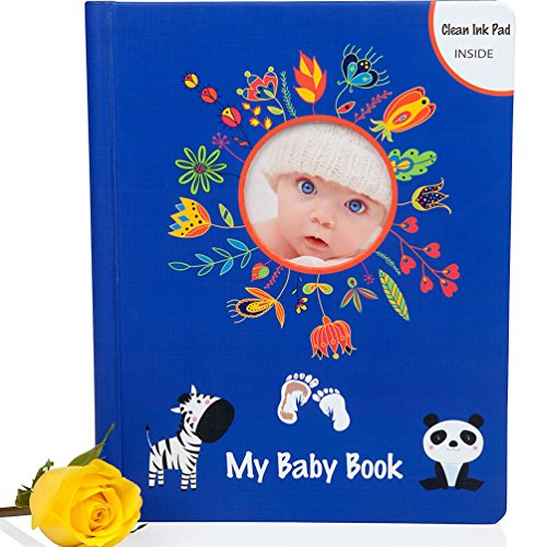 4-IN-1 BABY BOOK GIFT SET w/ Clean Touch INK PAD, Keepsake Gift Box & Pockets - First Five Year Memory Book Boy & Girl - Simple Modern Photo Album - Scrapbook Record Milestone - Newborn Shower
