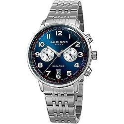 Akribos XXIV Men's White Dual Time Zone Sub dials with Blue Dial and Silver-Tone Case on Silver-Tone Stainless Steel Bracelet Watch AK942SSBU