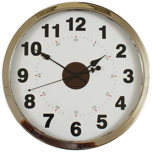 Ashton Sutton YF100412 Wall Clock with Silver Case and Solar Cell by Ashton