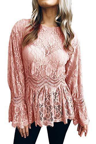 Haut Blouses Fashion JackenLOVE Rose Chemisiers Casual T Rond Longues Shirt Automne Printemps Tops Dentelle et Col Femmes Manches Tee qwppIZB